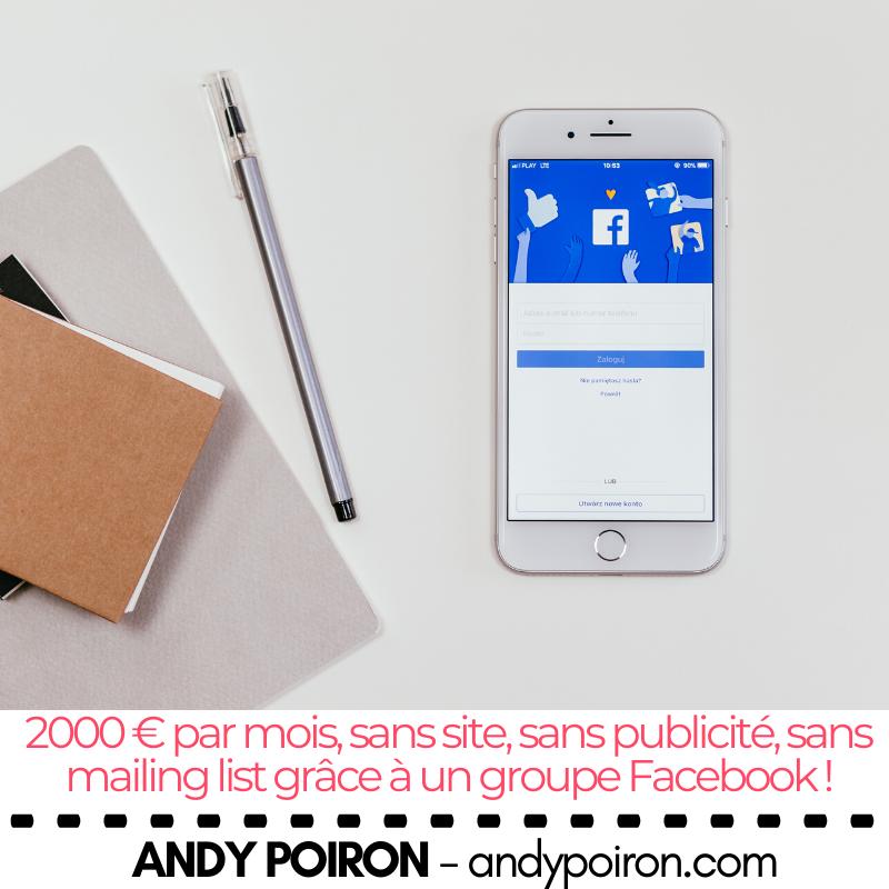 2000 € par mois, sans site, sans publicité, sans mailing list grâce à un groupe Facebook !